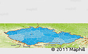 Political Shades Panoramic Map of Czech Republic, physical outside