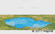 Political Shades Panoramic Map of Czech Republic, satellite outside