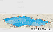 Political Shades Panoramic Map of Czech Republic, shaded relief outside