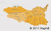 Political Shades 3D Map of Pardubický kraj, cropped outside