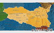 Political Shades 3D Map of Pardubický kraj, darken