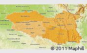 Political Shades 3D Map of Pardubický kraj, physical outside