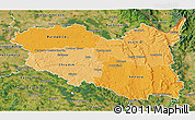Political Shades 3D Map of Pardubický kraj, satellite outside