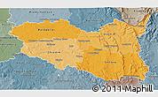 Political Shades 3D Map of Pardubický kraj, semi-desaturated
