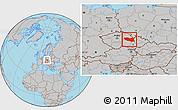 Gray Location Map of Pardubický kraj