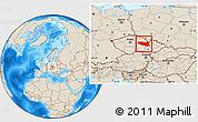 Shaded Relief Location Map of Pardubický kraj