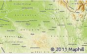 Physical Map of Pardubický kraj