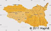 Political Shades Map of Pardubický kraj, cropped outside