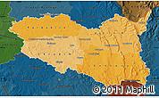 Political Shades Map of Pardubický kraj, darken