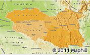 Political Shades Map of Pardubický kraj, physical outside