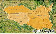 Political Shades Map of Pardubický kraj, satellite outside