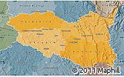 Political Shades Map of Pardubický kraj, semi-desaturated