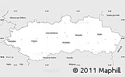 Silver Style Simple Map of Pardubice