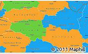 Political Simple Map of Pardubický kraj