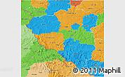Political 3D Map of Plzeňský kraj