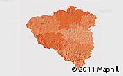 Political Shades 3D Map of Plzeňský kraj, cropped outside