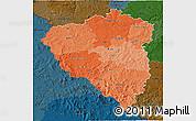 Political Shades 3D Map of Plzeňský kraj, darken