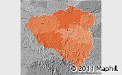 Political Shades 3D Map of Plzeňský kraj, desaturated