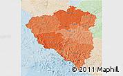 Political Shades 3D Map of Plzeňský kraj, lighten