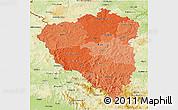 Political Shades 3D Map of Plzeňský kraj, physical outside