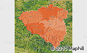 Political Shades 3D Map of Plzeňský kraj, satellite outside