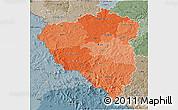 Political Shades 3D Map of Plzeňský kraj, semi-desaturated