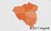 Political Shades Map of Plzeňský kraj, cropped outside