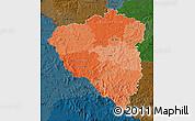 Political Shades Map of Plzeňský kraj, darken