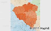 Political Shades Map of Plzeňský kraj, lighten