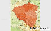 Political Shades Map of Plzeňský kraj, physical outside