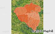 Political Shades Map of Plzeňský kraj, satellite outside