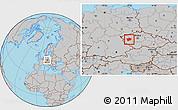 Gray Location Map of Plzeň-sever