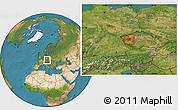 Satellite Location Map of Plzeň-sever