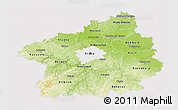 Physical 3D Map of Středočeský kraj, cropped outside