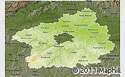 Physical 3D Map of Středočeský kraj, darken