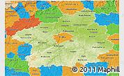 Physical 3D Map of Středočeský kraj, political outside