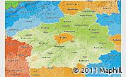 Physical 3D Map of Středočeský kraj, political shades outside
