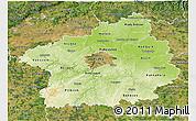 Physical 3D Map of Středočeský kraj, satellite outside