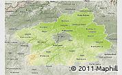 Physical 3D Map of Středočeský kraj, semi-desaturated