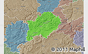 Political Map of Beroun, semi-desaturated