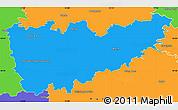 Political Simple Map of Kolín