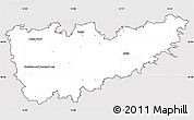 Silver Style Simple Map of Kolín, cropped outside