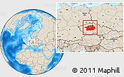 Shaded Relief Location Map of Středočeský kraj