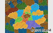 Political Map of Středočeský kraj, darken