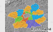 Political Map of Středočeský kraj, desaturated