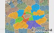 Political Map of Středočeský kraj, semi-desaturated