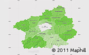 Political Shades Map of Středočeský kraj, cropped outside