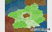 Political Shades Map of Středočeský kraj, darken