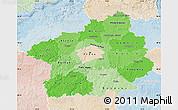 Political Shades Map of Středočeský kraj, lighten
