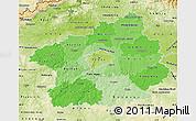 Political Shades Map of Středočeský kraj, physical outside